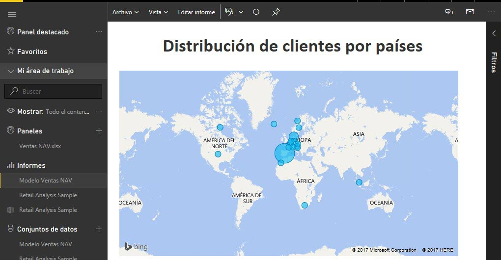 Panel power bi distribución de clientes