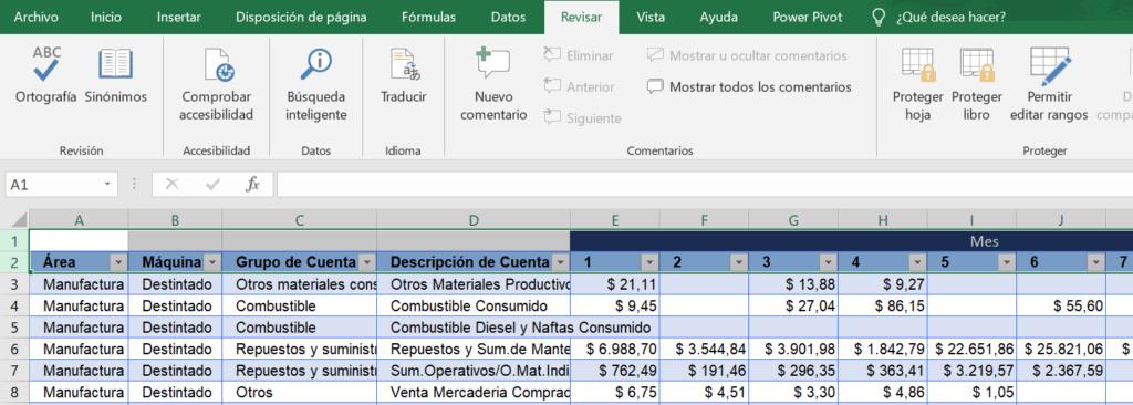 Revisar y bloquear en Excel