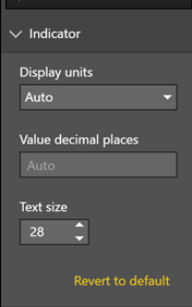 Visual indicator text size control