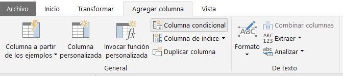 Menú para crear una columna condicional