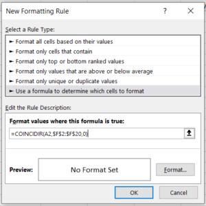 Fórmula coincidir en Excel