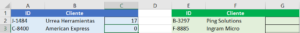 Excel coincidir