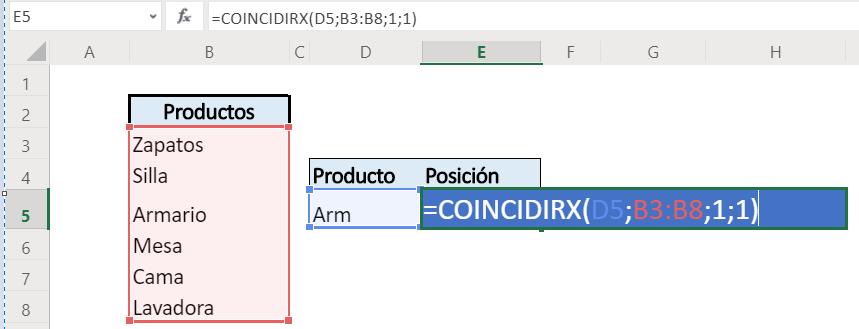 función coincidirx excel