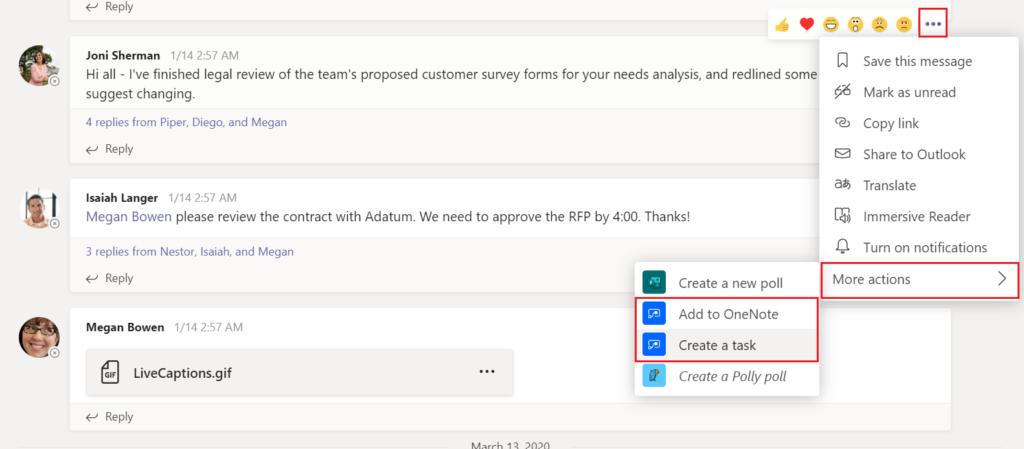 flows personalizados disponibles en el menu de acciones de mensaje de Teams